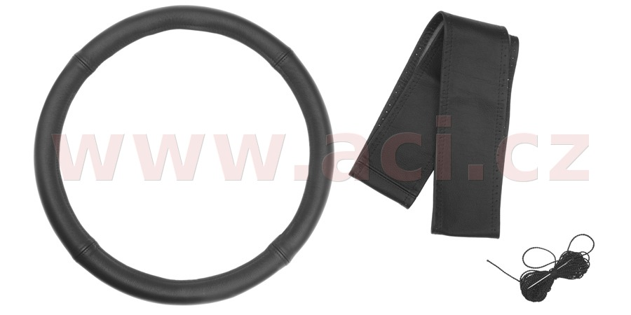 cover for steering wheel girth (black leather 4 pcs, black seam)